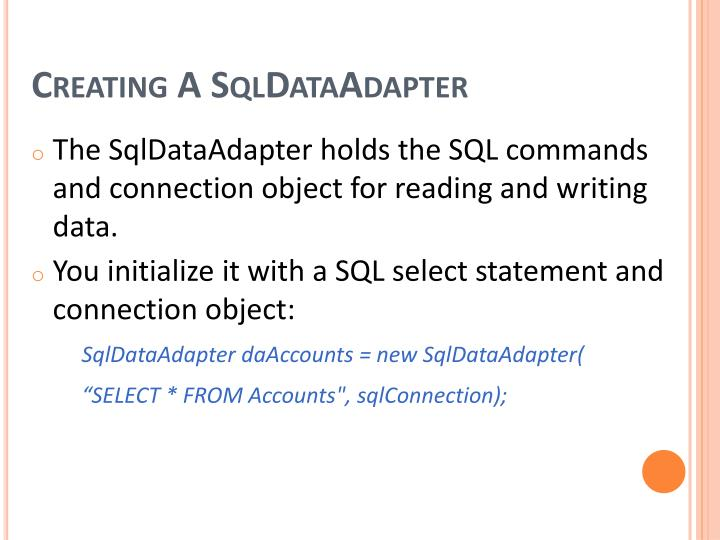 Creating A SqlDataAdapter