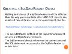creating a sqldatareader object