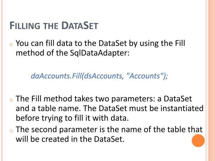 Filling the DataSet