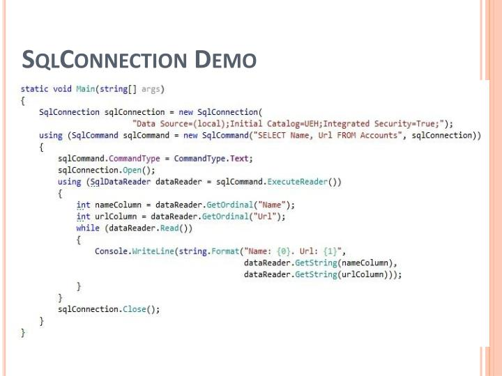 SqlConnection Demo