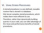 using stored procedures