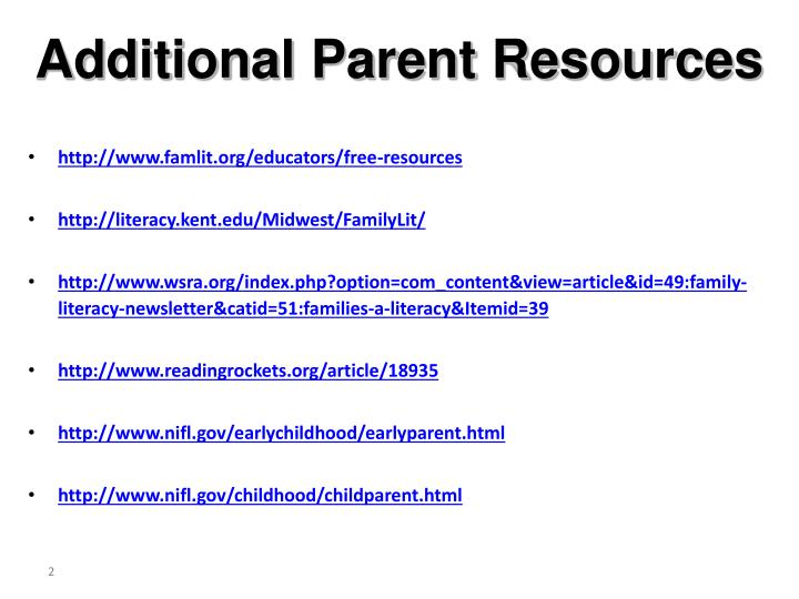 Additional parent resources