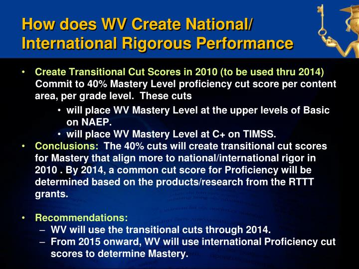 How does WV Create National/ International Rigorous Performance