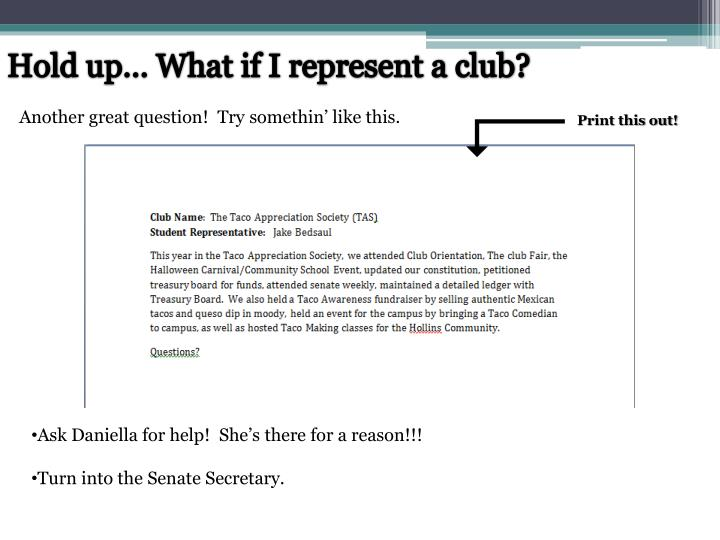 Hold up… What if I represent a club?