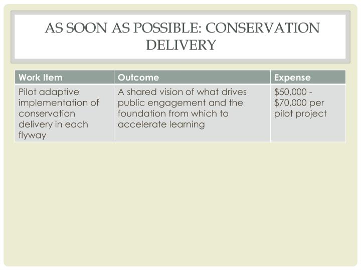 As soon as possible: Conservation Delivery