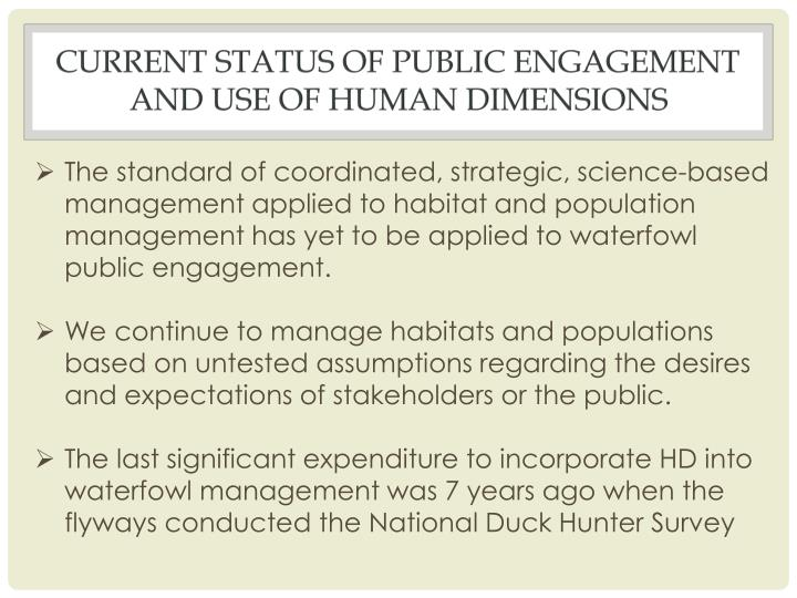 Current status of public engagement and use of human dimensions