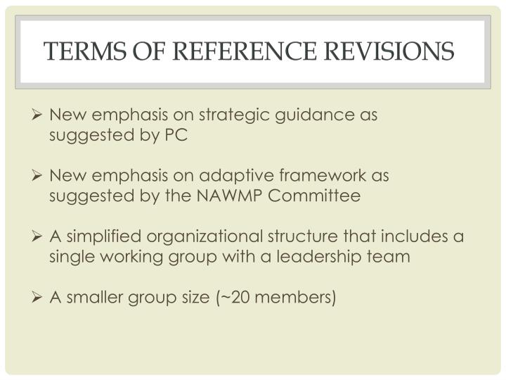 Terms of Reference revisions