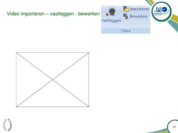 Video importeren – vastleggen - bewerken