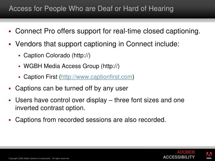 Access for People Who are Deaf or Hard of Hearing