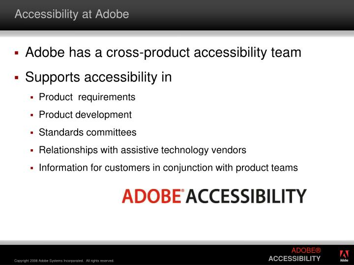 Accessibility at adobe