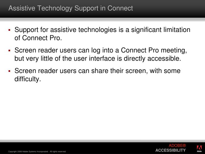 Assistive Technology Support in Connect