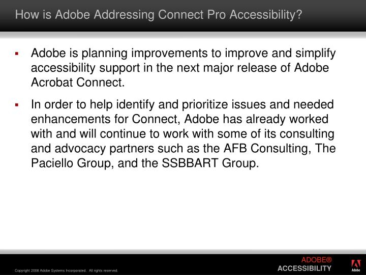 How is Adobe Addressing Connect Pro Accessibility?