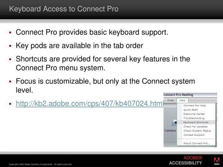 Keyboard Access to Connect Pro