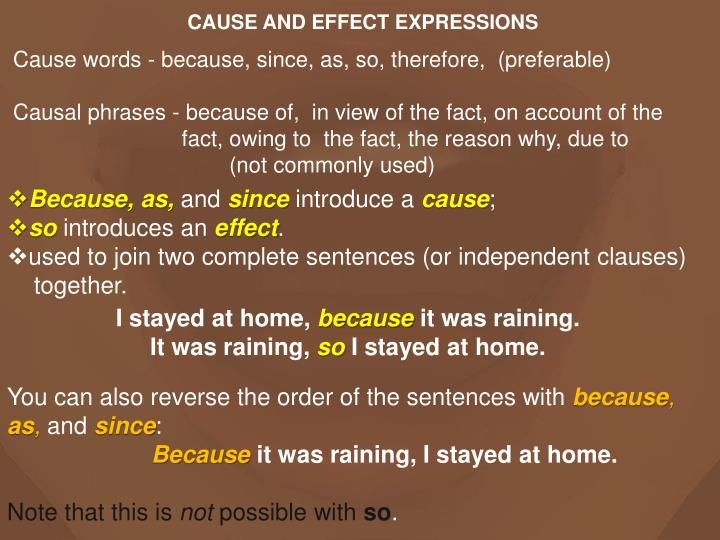 CAUSE AND EFFECT EXPRESSIONS