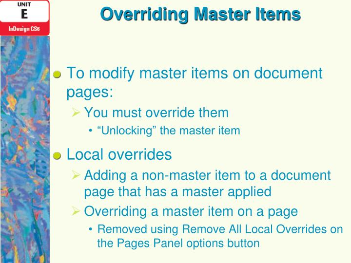 Overriding Master Items