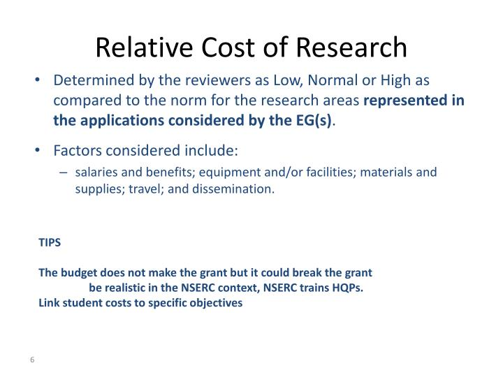 Relative Cost of Research