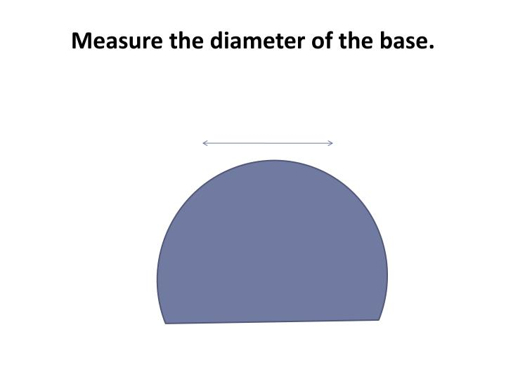 Measure the diameter of the base.