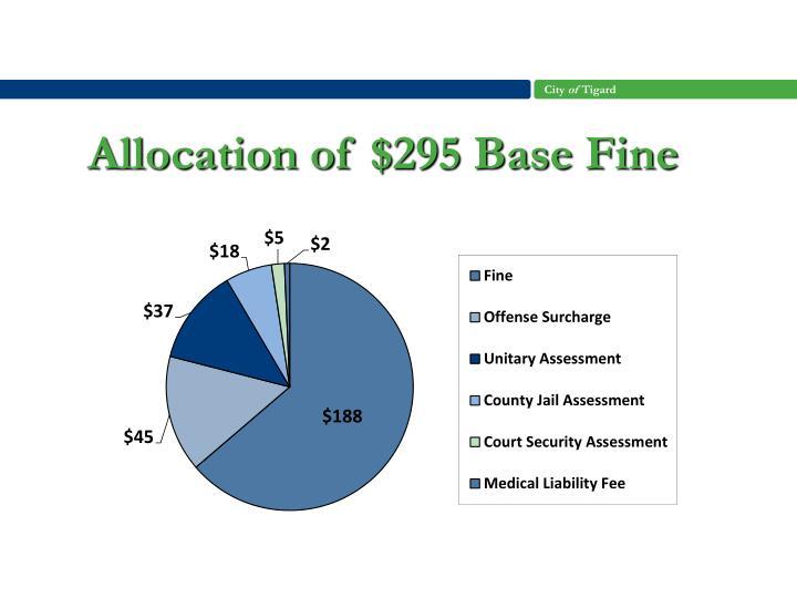 Allocation of $295 Base Fine