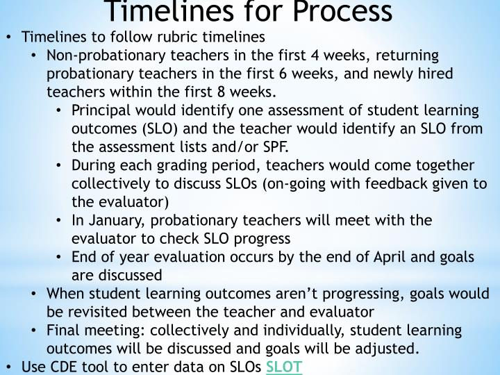 Timelines for Process