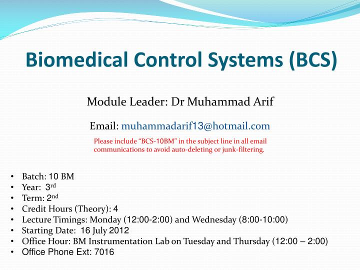 biomedical control systems bcs