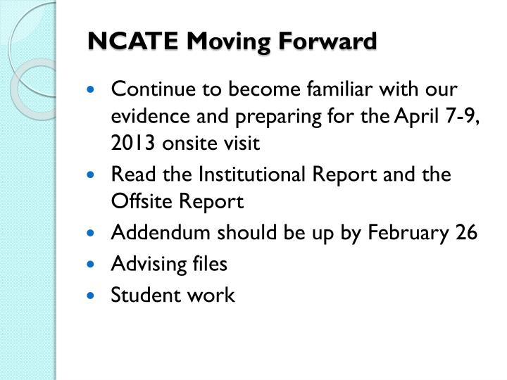 NCATE Moving Forward