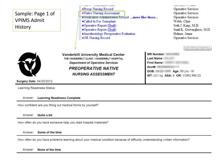 Sample: Page 1 of VPIMS Admit History