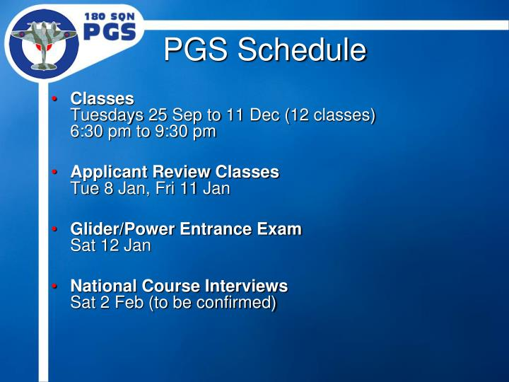 PGS Schedule