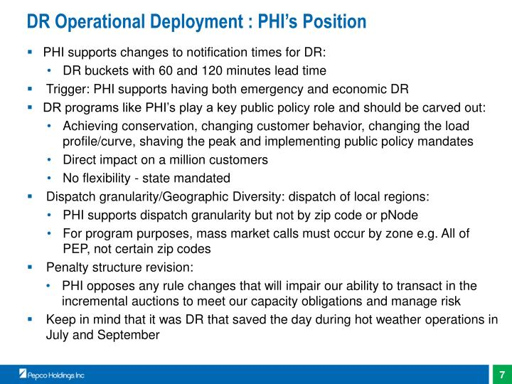DR Operational Deployment : PHI's Position