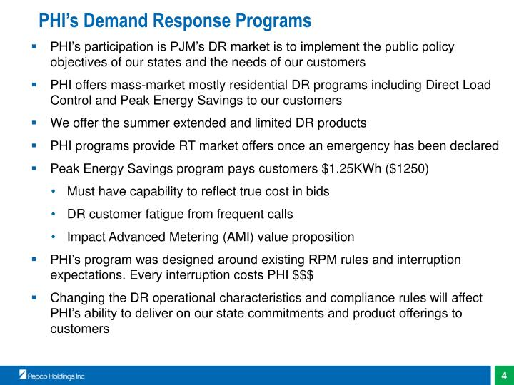 PHI's Demand Response Programs