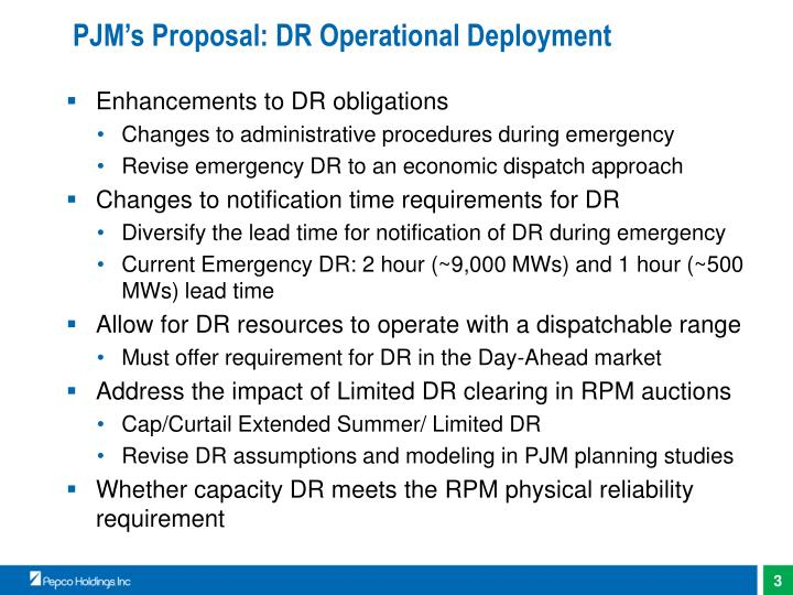 Pjm s proposal dr operational deployment