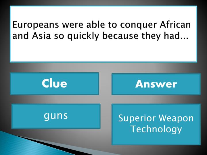 Europeans were able to conquer African and Asia so quickly because they had...