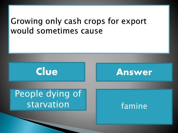 Growing only cash crops for export would sometimes cause