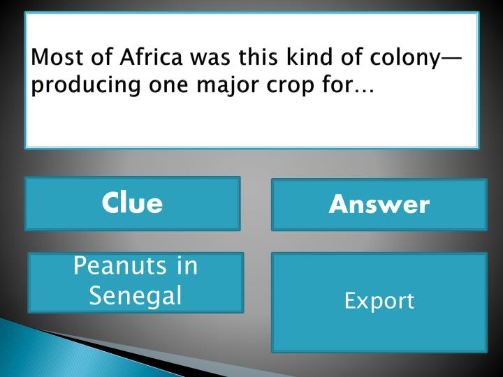 Most of Africa was this kind of colony—producing one major crop for…