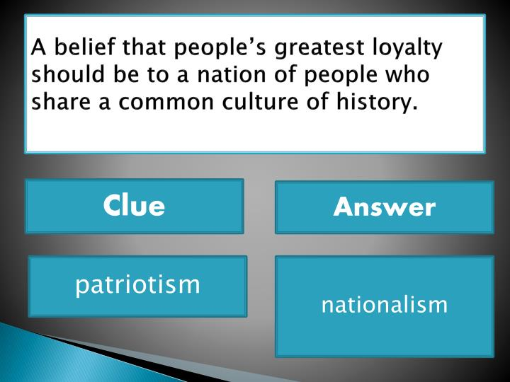 A belief that people's greatest loyalty should be to a nation of people who share a common culture of history.