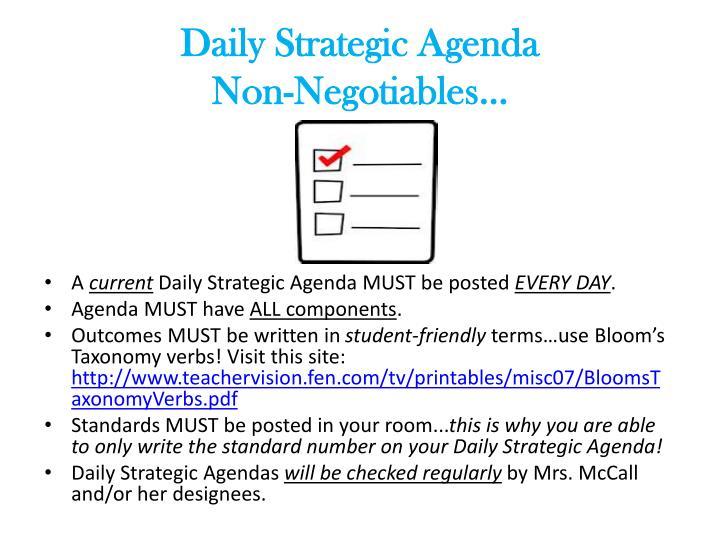 Daily Strategic Agenda                          Non-