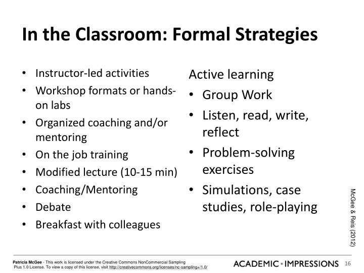 In the Classroom: Formal Strategies