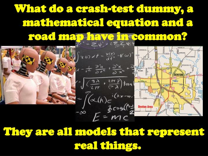 What do a crash-test dummy, a mathematical equation and a road map have in common?