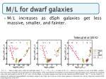 m l for dwarf galaxies