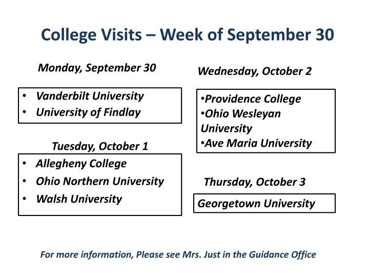 College Visits – Week of September 30
