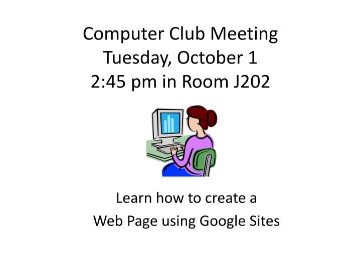 Computer Club Meeting