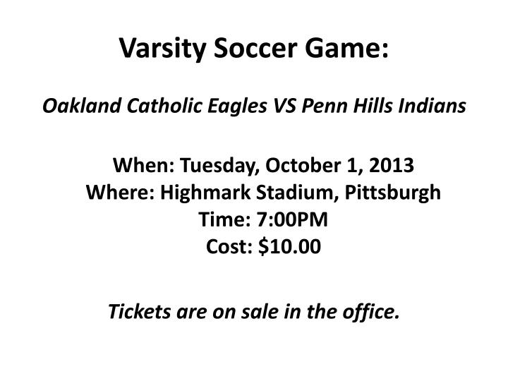 Varsity Soccer Game:
