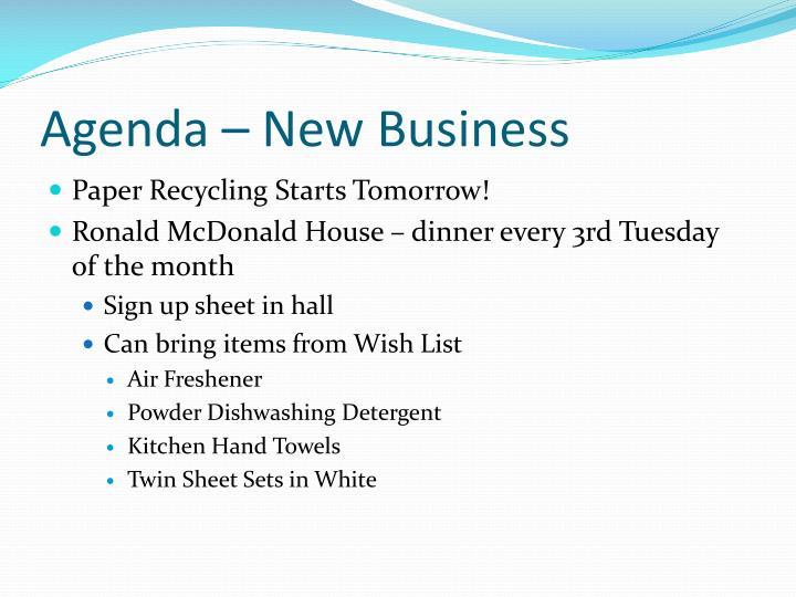 Agenda – New Business