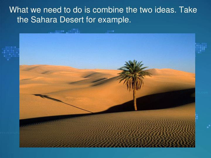 What we need to do is combine the two ideas. Take