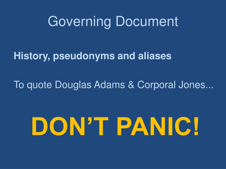 Governing Document