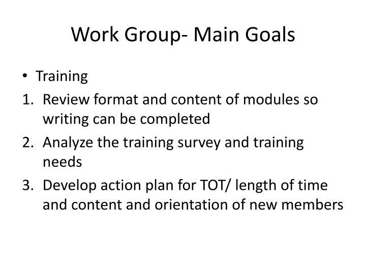 Work Group- Main Goals