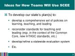 ideas for how teams will use scee1