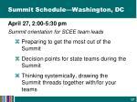 summit schedule washington dc