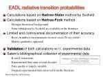 eadl radiative transition probabilities