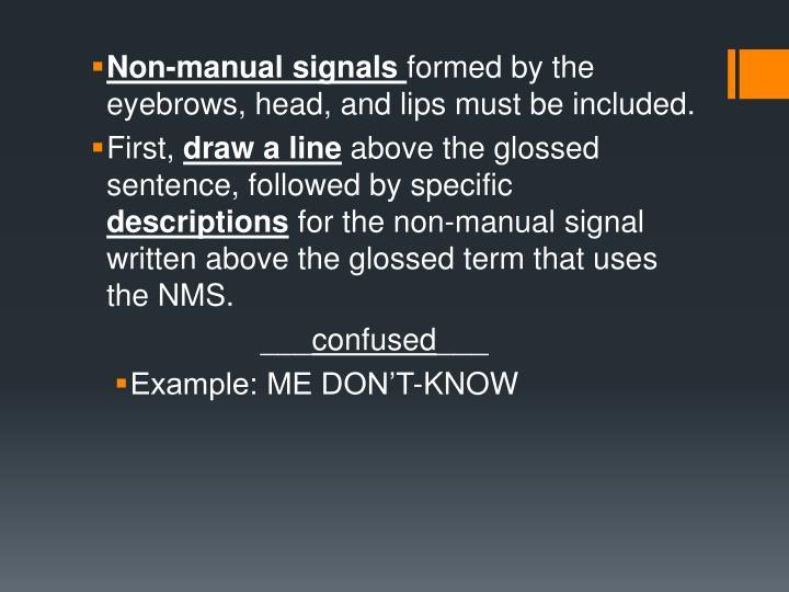 Non-manual signals