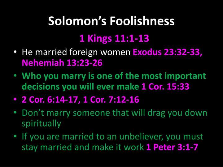 Solomon's Foolishness